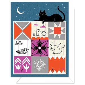 "BLANK CARD - CAT QUILT 4.25"" X 5.5"" BY CRAFTEDMOON FOR MODA - MIN.6"